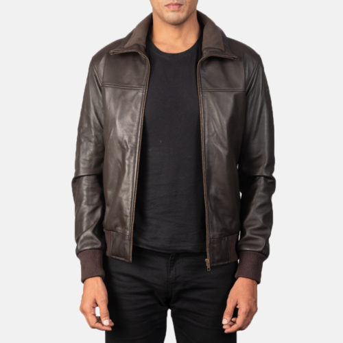 Air Rolf Brown Leather Bomber Jacket