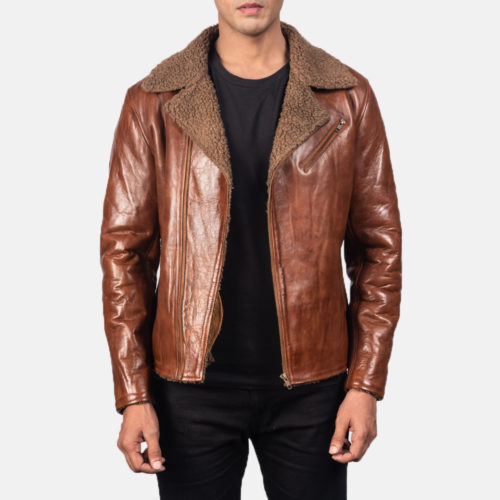 Alberto Shearling Brown Leather Jacket