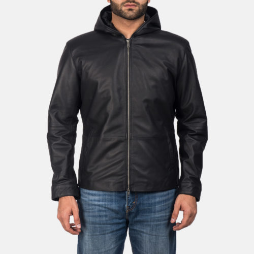Andy Matte Black Hooded Leather Jacket