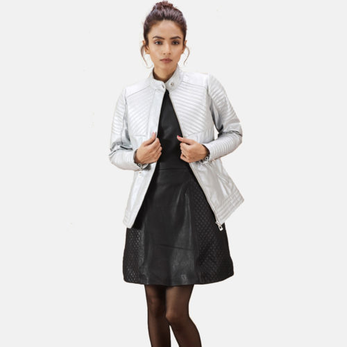 Ice Maiden Silver Quilted Leather Biker Jacket
