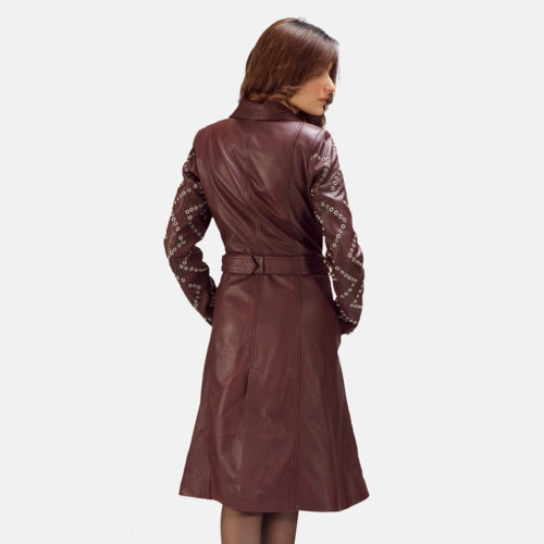 Trudy Lane Quilted Maroon Leather Coat