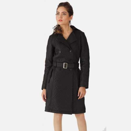 Sweet Susan Black Leather Trench Coat